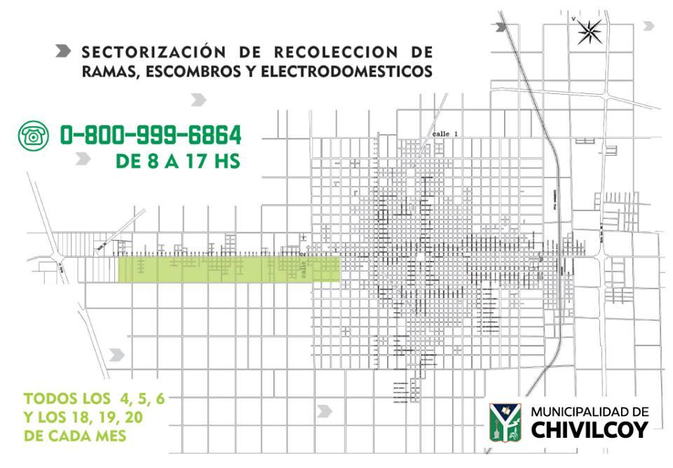 Municipio: Días de recolección de ramas, escombros y electrodomésticos