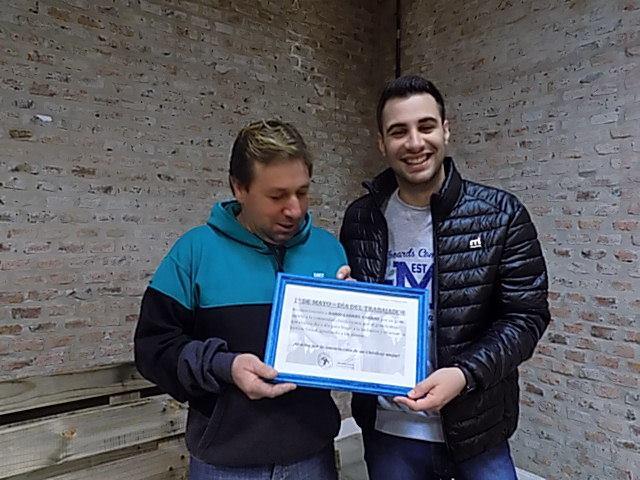 Día del Trabajador: La JP reconoció a Darío Corrao -presidente del Taller Dignidad-.