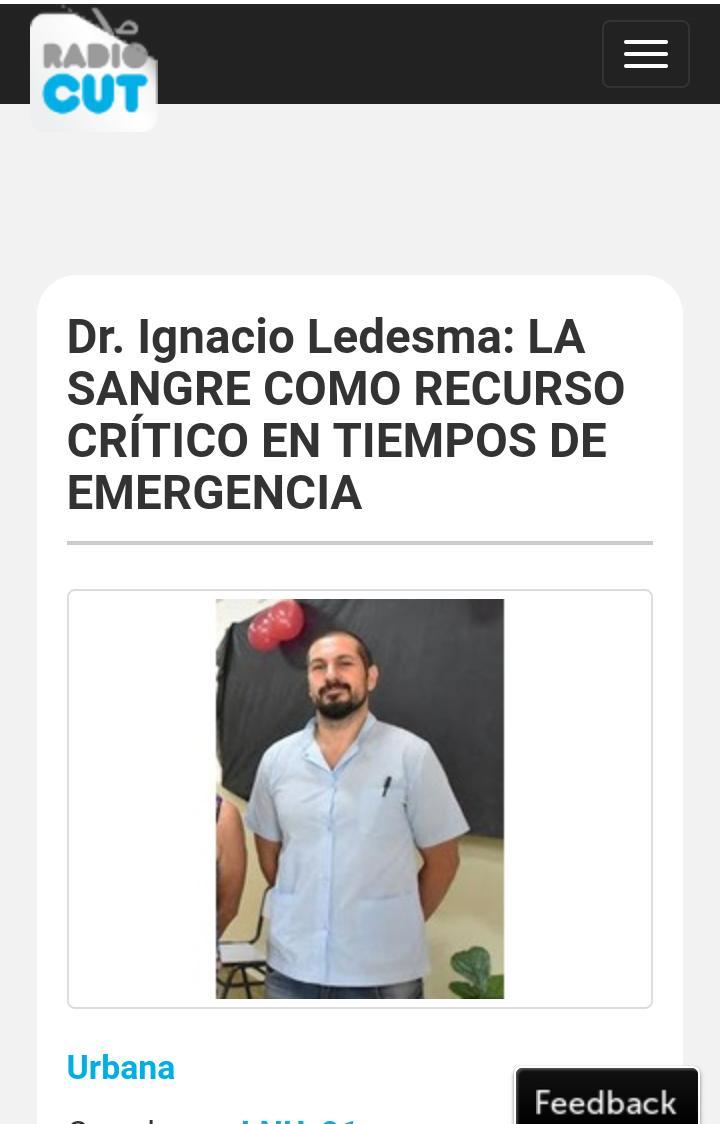 [Radio] Dr. Ignacio Ledesma: LA SANGRE COMO RECURSO CRÍTICO EN EMERGENCIA