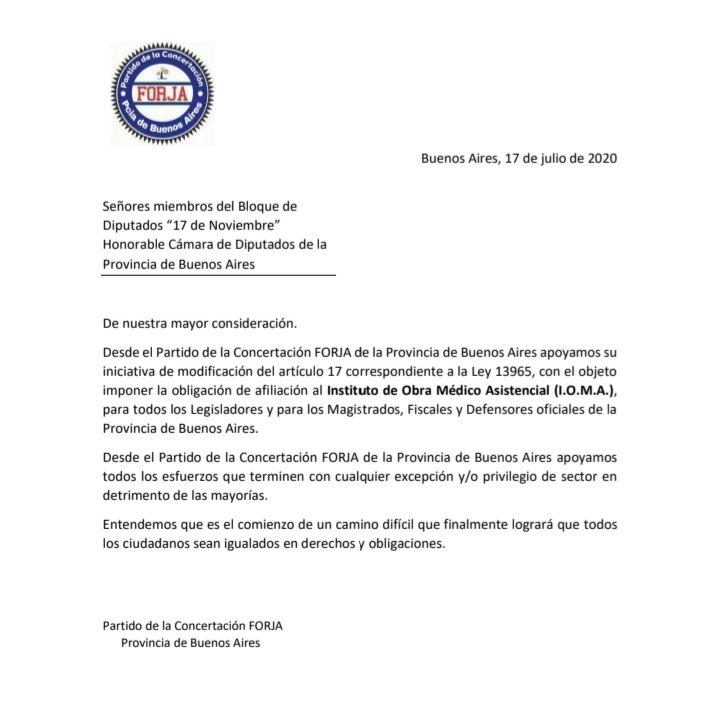 """[IOMA] Apoyo de Concertación FORJA al proyecto de aporte obligatorio que impulsa el bloque """"17 de Noviembre"""""""
