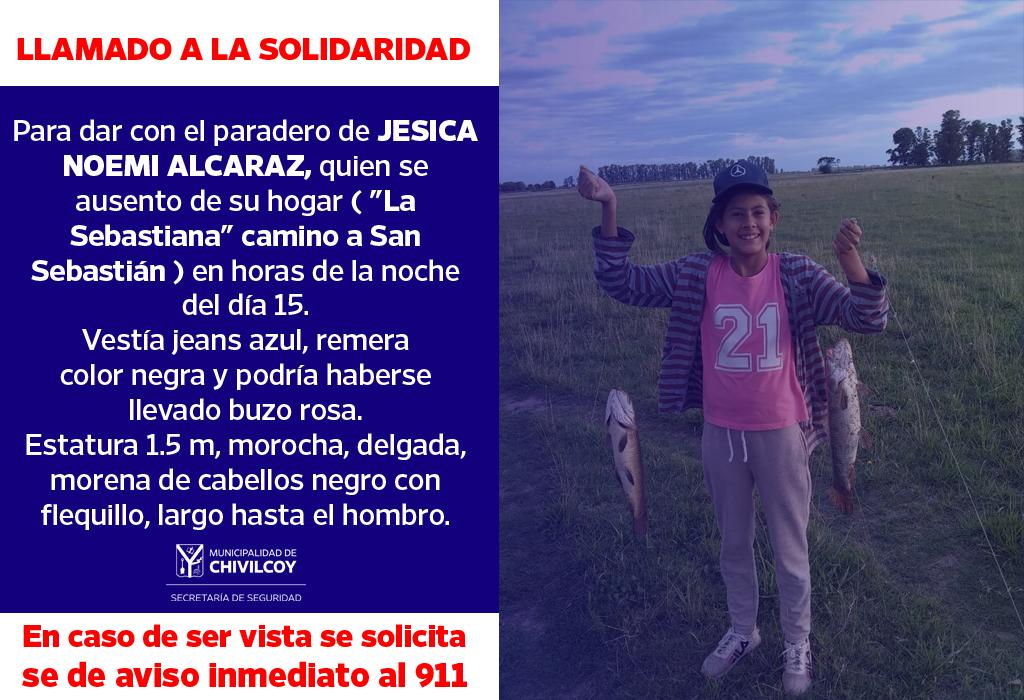 [Llamado a la solidaridad] Policía busca intensamente a una niña camino a San Sebastián