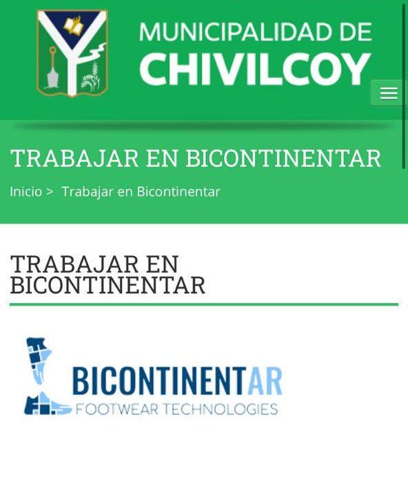 [Ex Paquetá] Inscripción de personal para la empresa Bicontinentar a través de la página del Municipio de Chivilcoy