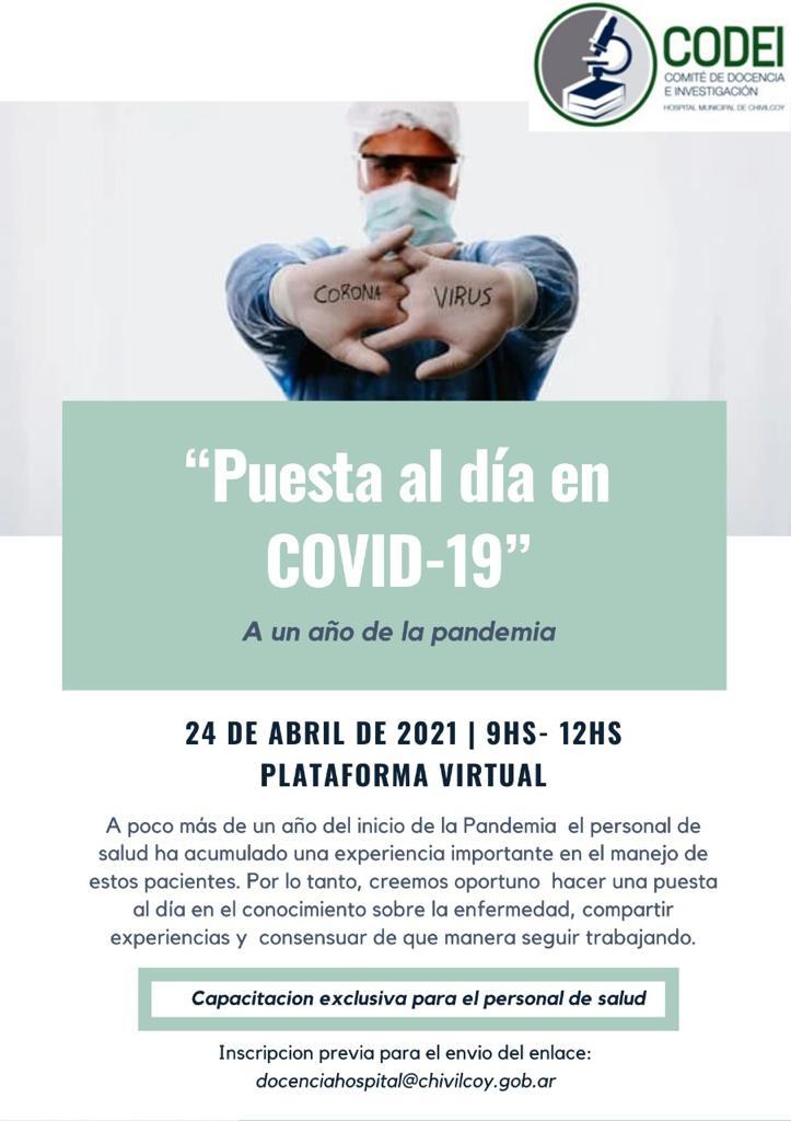 Este sábado el CODEI brindará una capacitación exclusiva para personal de Salud con relación al Covid-19