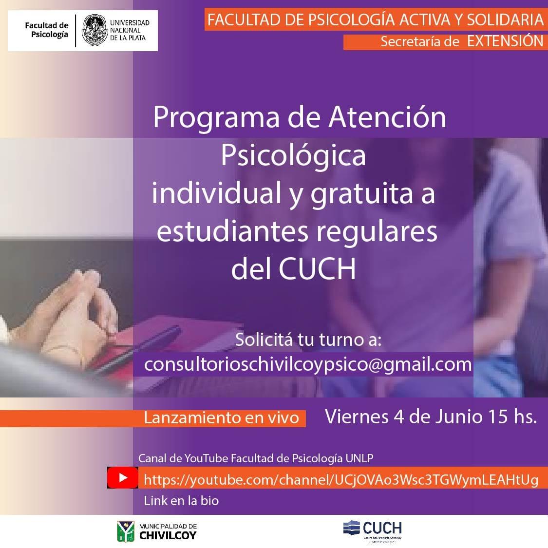"""[Hoy a las 15hs] Lanzamiento: """"Consultorios de atención psicológica para alumnos regulares del CUCH"""""""